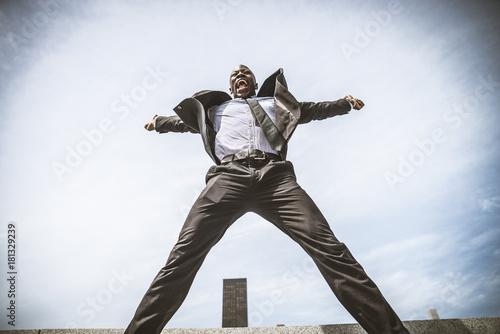 Foto op Aluminium New York Triumphant business man