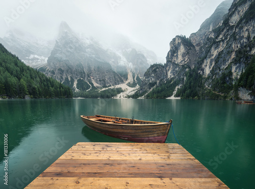 Lake in the mountain valley in the Italy. Beautiful natural landscape in the Italy mountains. - 181331006