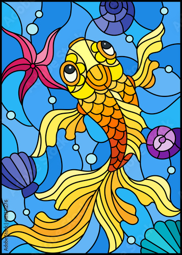 illustration-in-stained-glass-style-with-a-goldfish-on-a-background-of-shells-and-water