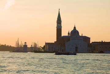Dawn at San Giorgio Magiore's cathedral. Morning in Venice, Italy
