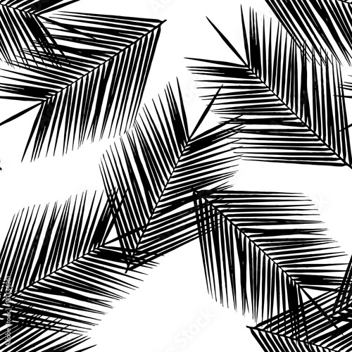 Seamless pattern from silhouettes of palm leaves. Black leaves on white background. Vector illustration. - 181334061