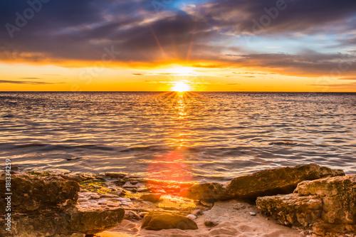 Plexiglas Strand A beautiful sunset in baltic sea