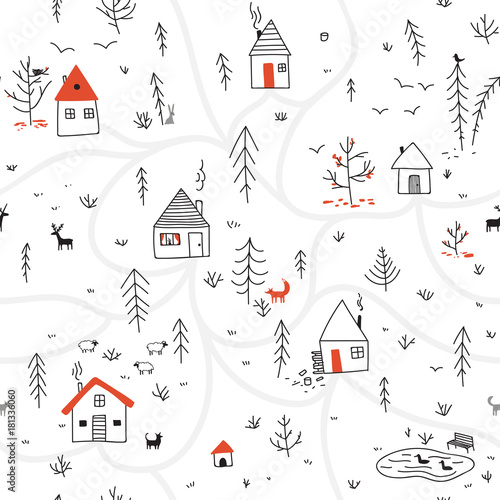 obraz PCV houses in winter forest seamless pattern with animals and red color