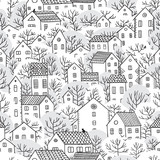 trees and houses seamless pattern winter - 181336230