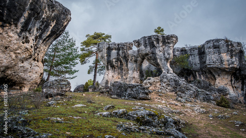 Aluminium Betoverde Bos Karstic unreal formation with holes in Cuenca