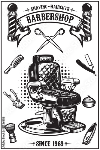 Aluminium Vintage Poster Barbershop poster with barber chair, haircut tools. Design elements for poster, emblem. Vector illustration