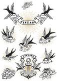 Set of swallow tattoo. Vintage anchor and roses. Design element for logo, label, emblem, sign. Vector illustration
