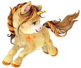 Fototapety cute unicorn watercolor illustration