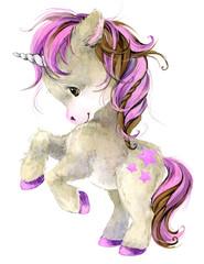 cute unicorn watercolor illustration © Елена Фаенкова