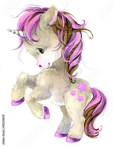 cute unicorn watercolor illustration - 181338859