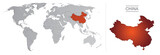 Chine dans le monde, avec frontières et tous les pays du monde séparés - 181343085