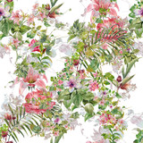 Watercolor painting of leaf and flowers, seamless pattern on white background - 181350058