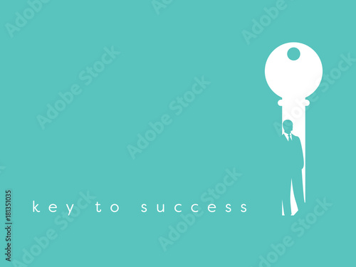 Key To Success In Business Vector Symbol Businessman And Key