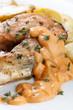 Roasted atlantic salmon  potatoes.