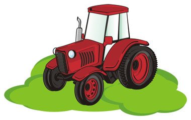tractor, car, transport, farm, illustration, cartoon, agriculture, green, grass, red