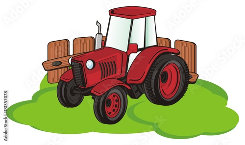 Fotobehang Auto tractor, car, transport, farm, illustration, cartoon, agriculture, red, green, fence,