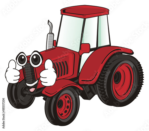 Fotobehang Auto tractor, car, transport, farm, illustration, cartoon, agriculture, red, face, gesture