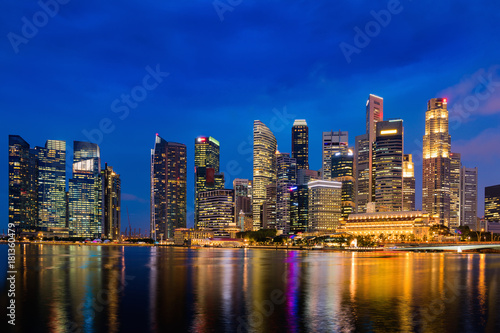 Singapore downtown and illuminated of lights, Cityscape Poster