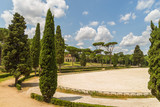 Siena square inside the Villa Borghese  gardens, Villa Borghese gardens  is a landscape garden in the naturalistic English manner in Rome. - 181364093