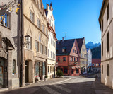 Old street in the historic center on a sunny  morning, Fussen, Bavaria, Germany - 181365030