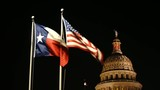 Flags Fly Night Falls Austin Texas Capital Building Motion - 181365035