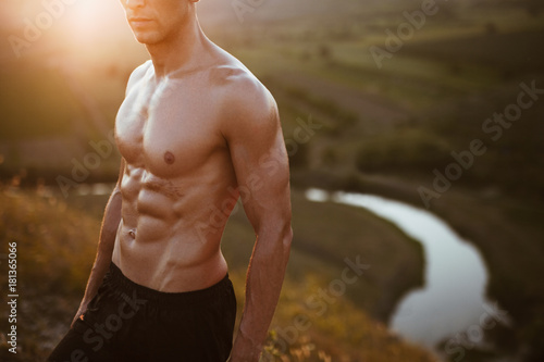 Sticker Muscular bare-chested man