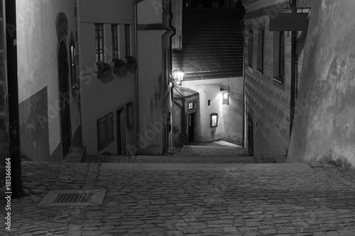Foto op Canvas Smal steegje Night town of Český Krumlov, castle stairs, baroque houses and courtyards.