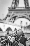 Love locks in Paris, Eiffel tower in the background - Black and white photography - 181368286