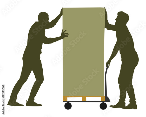 Hard workers pushing wheelbarrow and carry big box vector silhouette illustration isolated on white background. Delivery man moving package  by cart. Service moving transport. Warehouse job activity.