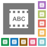 Movie subtitle square flat icons