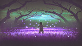 wonderful night scenery showing a boy standing in the garden of purple flowers with glowing insects, digital art style, illustration painting - 181377267