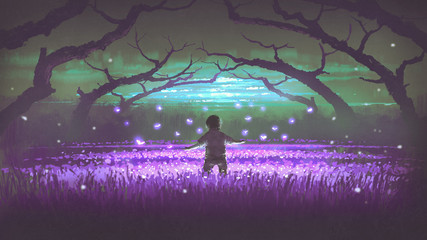 wonderful night scenery showing a boy standing in the garden of purple flowers with glowing insects, digital art style, illustration painting © grandfailure