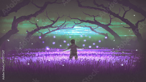 Canvas Aubergine wonderful night scenery showing a boy standing in the garden of purple flowers with glowing insects, digital art style, illustration painting