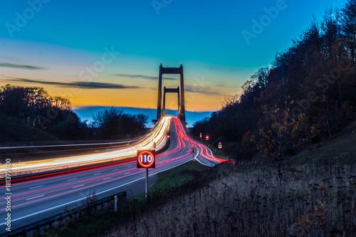Poster Nacht snelweg Bridge