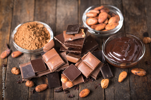 Various chocolate and cocoa on the wooden table