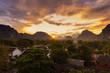 Quadro Viewpoint and beautiful sunset at Vang Vieng, Laos.