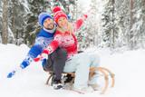 Happy couple outdoor in winter