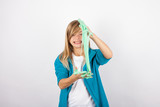 Funny girl playing with green slime looks like gunk - 181383097