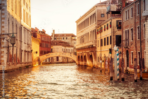 Canal in Venice at sunset, Italy