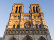PARIS, FRANCE, on October 27, 2017. The sunset sun lights cathedral Notre Dame de Paris which is one of city symbols