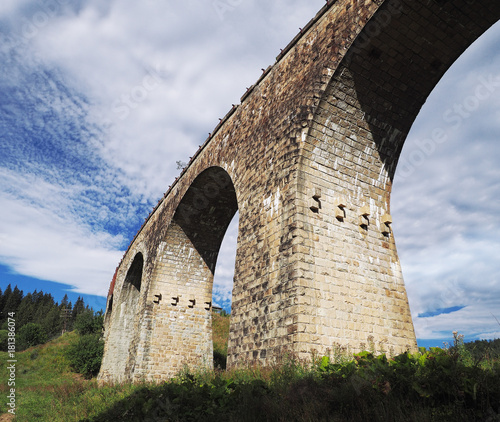 Fridge magnet old austrian bridge at the Karpatian mountains view from down