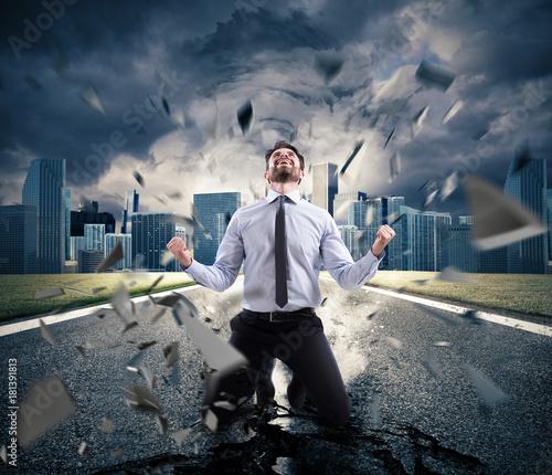 Fototapeta Power of successful businessman. Concept of determination