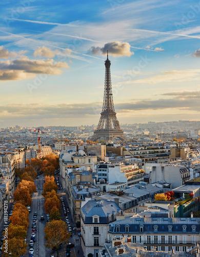 Fototapeta Aerial panoramic cityscape view of Paris, France