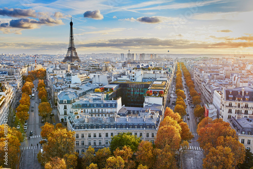 Plagát Aerial panoramic cityscape view of Paris, France