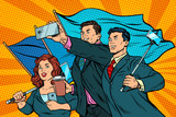 businessmen with smartphones and flags, poster socialist realism - 181396699