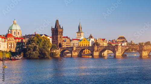 Staande foto Scandinavië Charles Bridge (Karluv Most) and Lesser Town Tower, Prague, Czech Republic