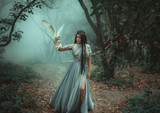 Mysterious sorceress in a beautiful blue dress. The background is a cold forest in the fog. Girl with a white owl. Artistic Photography - 181398459