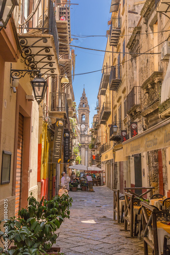 Plexiglas Palermo Palermo, Italy. View of one of the most picturesque streets of the old town