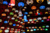 oriental lamps on a bazaar. traditional handmade  lamps in souvenir shop - 181405470