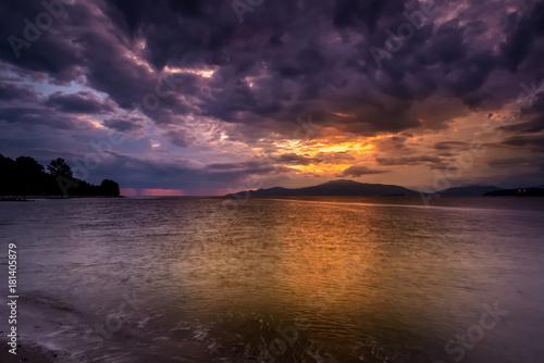 Poster Zee zonsondergang beach sunset at summer